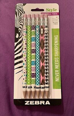Zebra Style 2 Mechanical Pencil 0.7mm Point Assorted Barrel Patterns 6-count