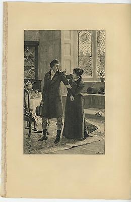 ANTIQUE ELIZABETHAN ERA COSTUME DRESS PRETTY WOMAN ARCHITECTURAL CEILING - Elizabethan Era Costumes