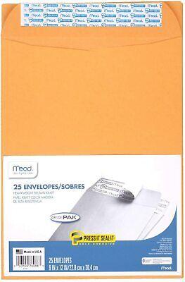 Mead Envelopes 9 X 12 Self Adhesive Office Pack Brown Kraft 25-pack