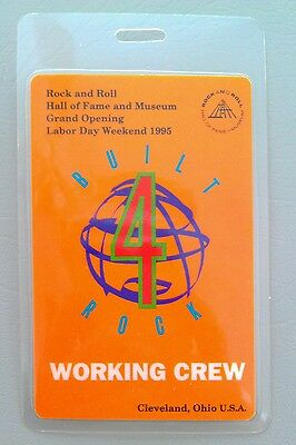 1995 ROCK N ROLL HALL OF FAME LAMINATED BACKSTAGE PASS CREW BOB DYLAN