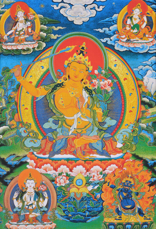 "24"" BROCADE BLESSED SCROLL THANGKA: MANJUSHRI OF WISDOM QUAN YIN OF COMPASSION -"