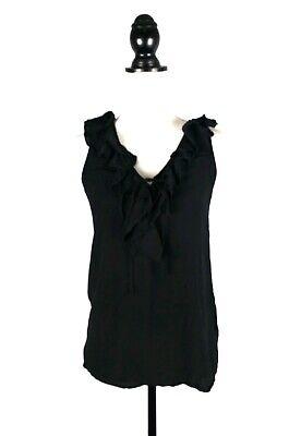- Joie Womens Size XS Black 100% Silk Ruffle Sleeveless Racerback Tank Top