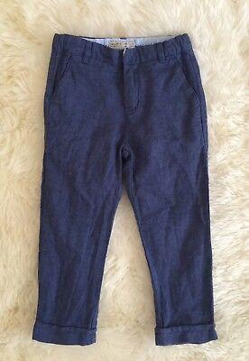 Zara Boys Blue Linen Cotton Blend Weave Dress Skinny Slim Suit Pants Size 4 for sale  Duncan