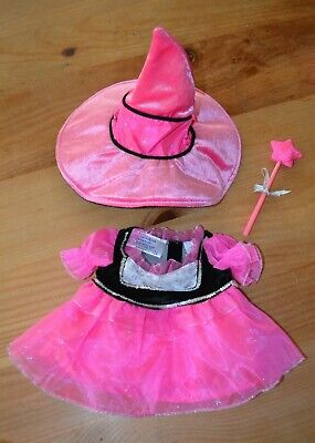 Bear Halloween Outfit (Build a Bear Clothes Witch Outfit Hat Hair Dress Pink Black Halloween)