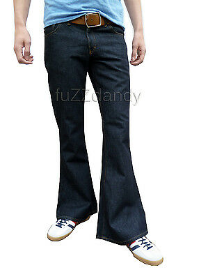 Mens Denim Bell Bottom Flares Jeans Vtg 60s 70s Indie Mod Hippy Indigo Blue
