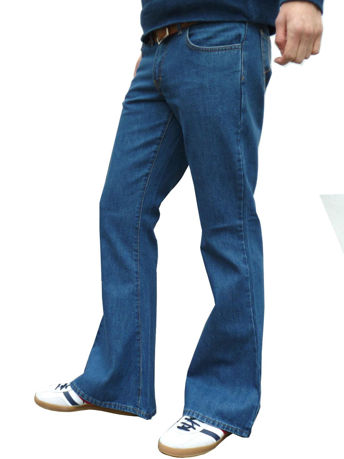 Mens Denim Bell Bottom Flares Jeans Vtg 60s 70s Indie Mod Hippy Stonewash