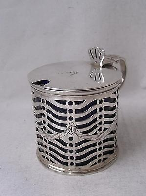Pretty Antique Solid Sterling Silver Drum Mustard Pot 1802 IC/ L 8 cm