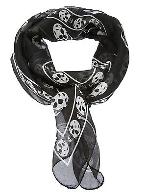 Authentic New ALEXANDER MCQUEEN Silk Chiffon Skull Scarf Black