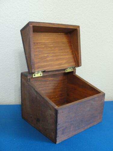 Vintage Wood Recipe Box Hinged Lid