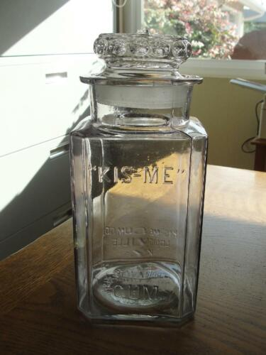 Antique Advertising KIS-ME GUM Counter Top Store Display Jar Canister