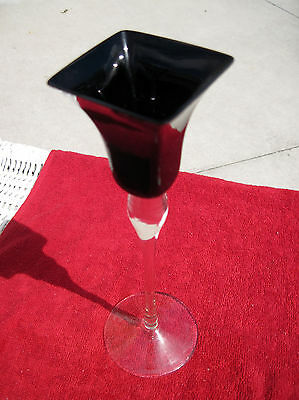 Antique Black Amethyst Handblown Crystal Candle Stick Holder