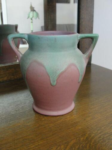 Muncie Pottery Art Pottery Trumpet Vase Matte Green Drip over Rose #410-6""