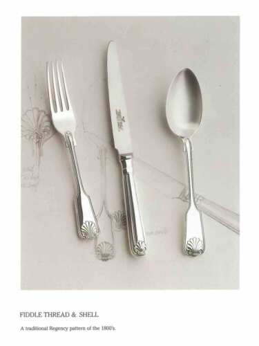 Finest Silver Plated 5 Pc Place-Setting, Fiddle Thread & Shell