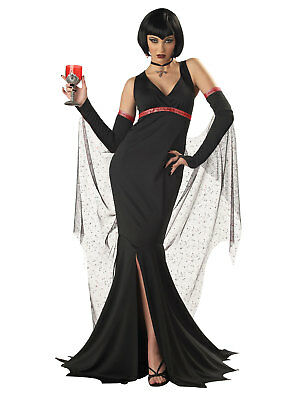Womens Black Gothic Devil Vampire Queen Adult Halloween Costume - Devil Outfits Halloween