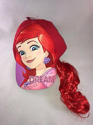 Ariel Princess Girls Baseball Cap Hat with Red Ponytail