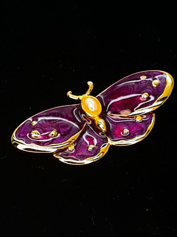 Vintage Enamel Purple Moth Brooch with Pearl Cabochon Estate Costume Jewelry