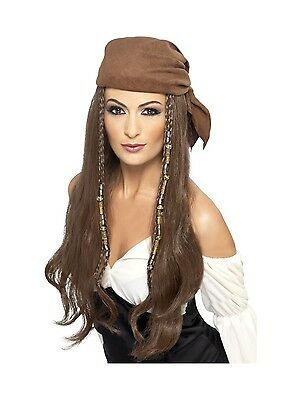 Pirate Caribbean Buccaneer Wig With Bandana Adult Costume Accessory (Costumes With Bandanas)