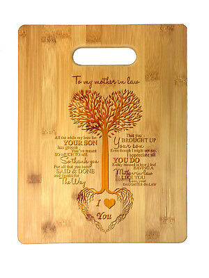 Laser Engraved Bamboo Cutting Board - To My Mother in Law Tree Heart Mother's Day Laser Engraved Bamboo Cutting Board