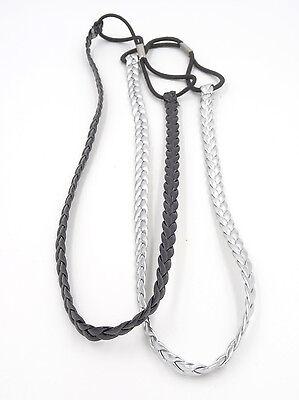 One Dozen New Wholesale Black & Silver Stretch Headband Sets  #H2049-12