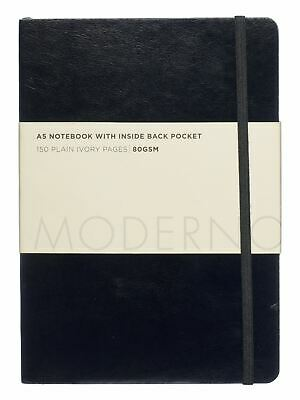 WHSmith Moderno Black Soft Cover Leather Effect A5 Plain Notebook Journal