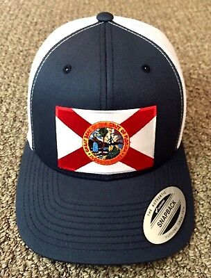 State of FLORIDA Flag Hat SnapBack Trucker Mesh Cap Handcrafted in the USA! Florida State Cap