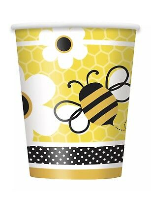 Bumble Bee Theme Busy Bees 9oz. Heavy Duty Party Paper Cups 16ct. by Unique NIP