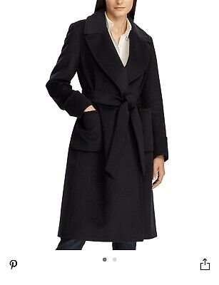 NWT Ralph Lauren Womens Coat, Belt-Wrap, Sz8, Cashmere Blend, Black - Brand -
