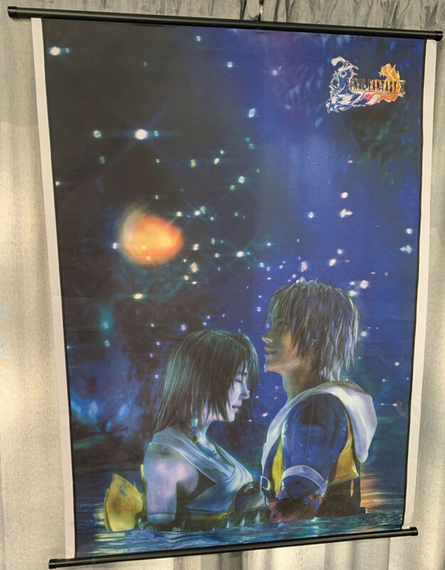 """Final Fantasy X Wall Scroll Tapestry Hanging Poster - Large 44"""" x 31"""" - EUC"""