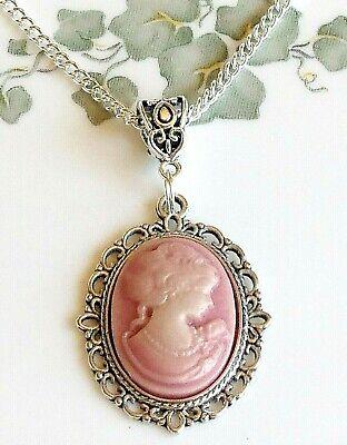 Handmade  Mauve Lady Cameo Pendant Necklace 25 x 18 mm Resin (Lady Cameo Pendant Necklace)