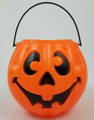 Vintage Grand Venture Pumpkin Blow Mold Halloween Candy Pail/Bucket Orange 1997