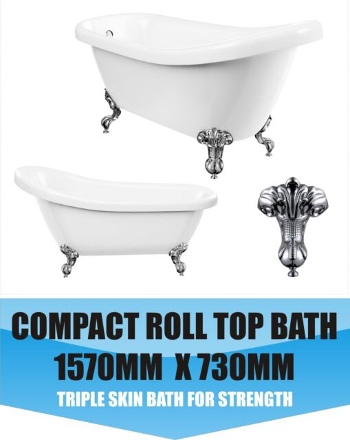 Small Slipper Bath Compact Freestanding Traditional  Deep Victorian Style NEW
