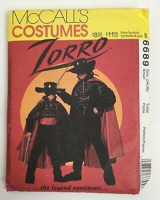 Female Zorro Halloween Costume (McCalls Zorro Costume 6689 Mens S 34-36 Halloween Vintage 90s New Uncut)