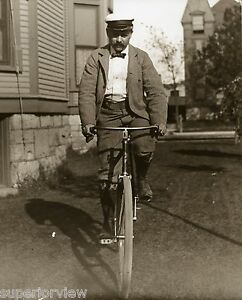 Antique-Bicycle-Man-Bow-Tie-Cap-Knickers-Vintage-Bike-From-Glass-Plate-1897