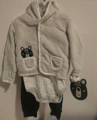 CJP Baby Boy Infant 3 Piece Bear Outfit Hooded Jacket Boysuit Pant 6 / 9 Months