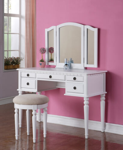 Beautiful 3-PC Elegant White Finish Vanity Table ...