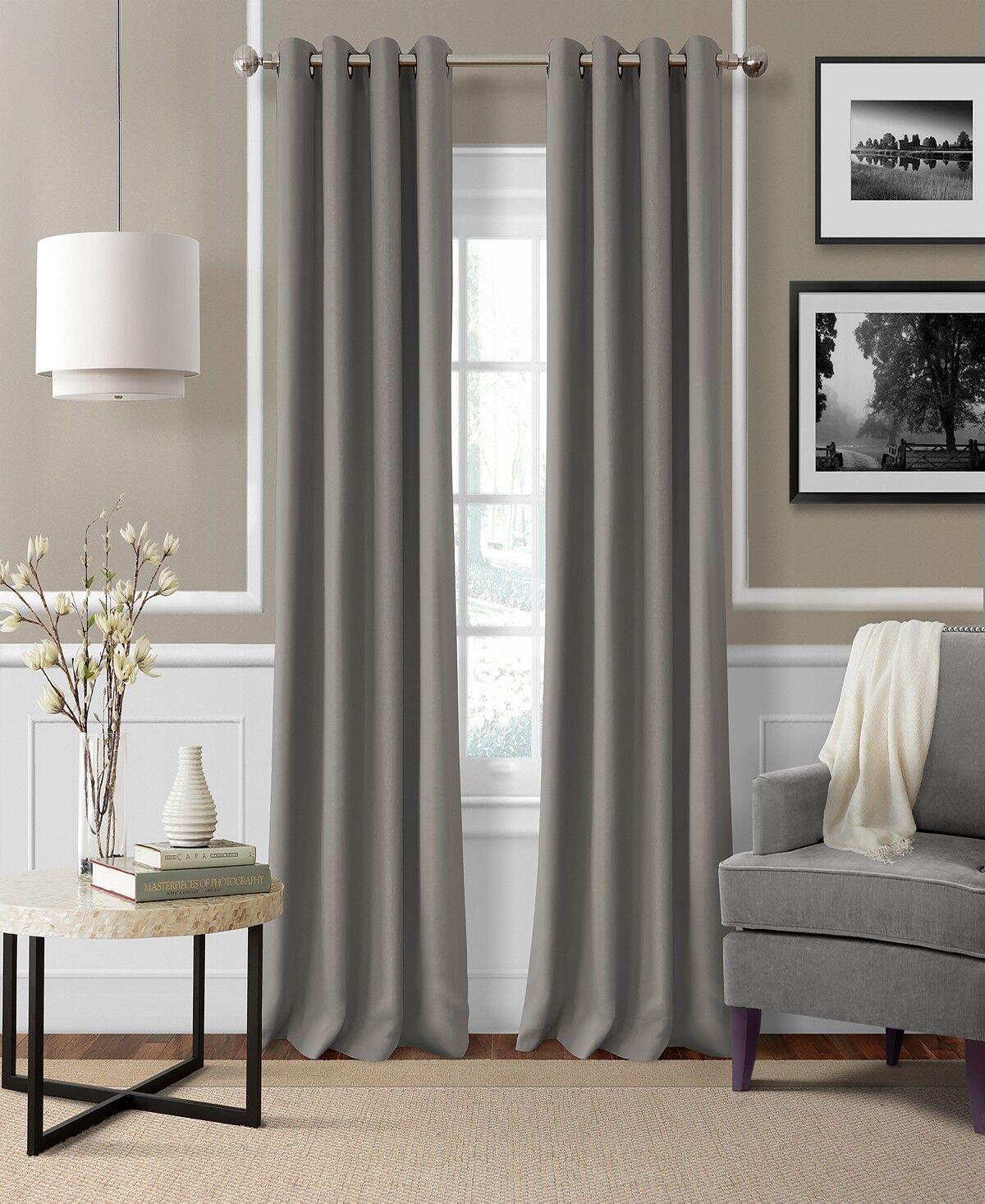 """$84 Elrene Essex Grommet Linen Grey 50 x 84"""" Window Panel Cu"""