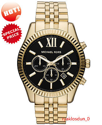 NEW Michael Kors MK8286 Men's Lexington Watch Gold-Tone Black Dial 45MM