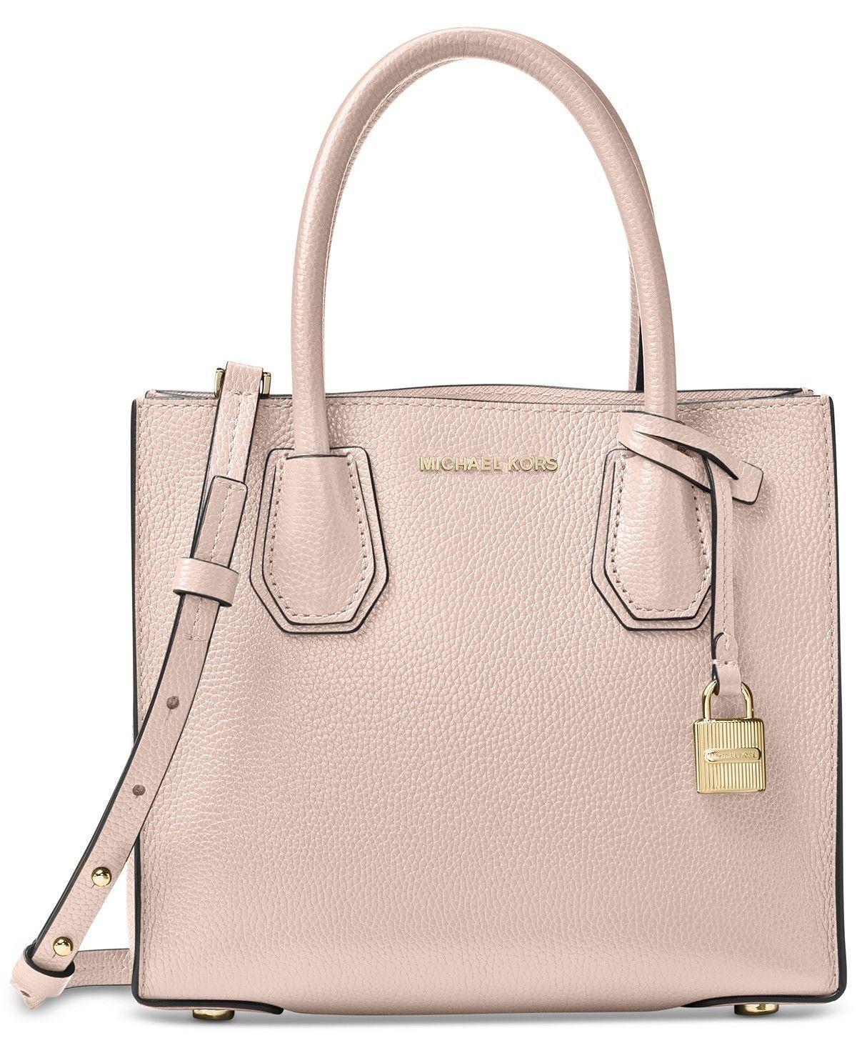 4dc297ca031b Michael Kors Mercer Soft Pink Leather Medium Satchel Handbag ...