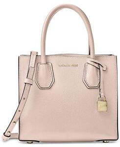 a675eb32af95c2 Michael Kors Mercer Soft Pink Leather Medium Satchel Handbag 30f6gm9m2l187