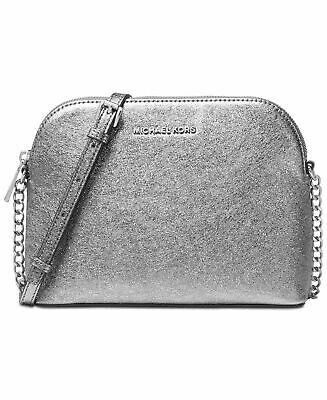 NWT MICHAEL Michael Kors Large Dome Crossbody Light Pewter Crackle Leather $198