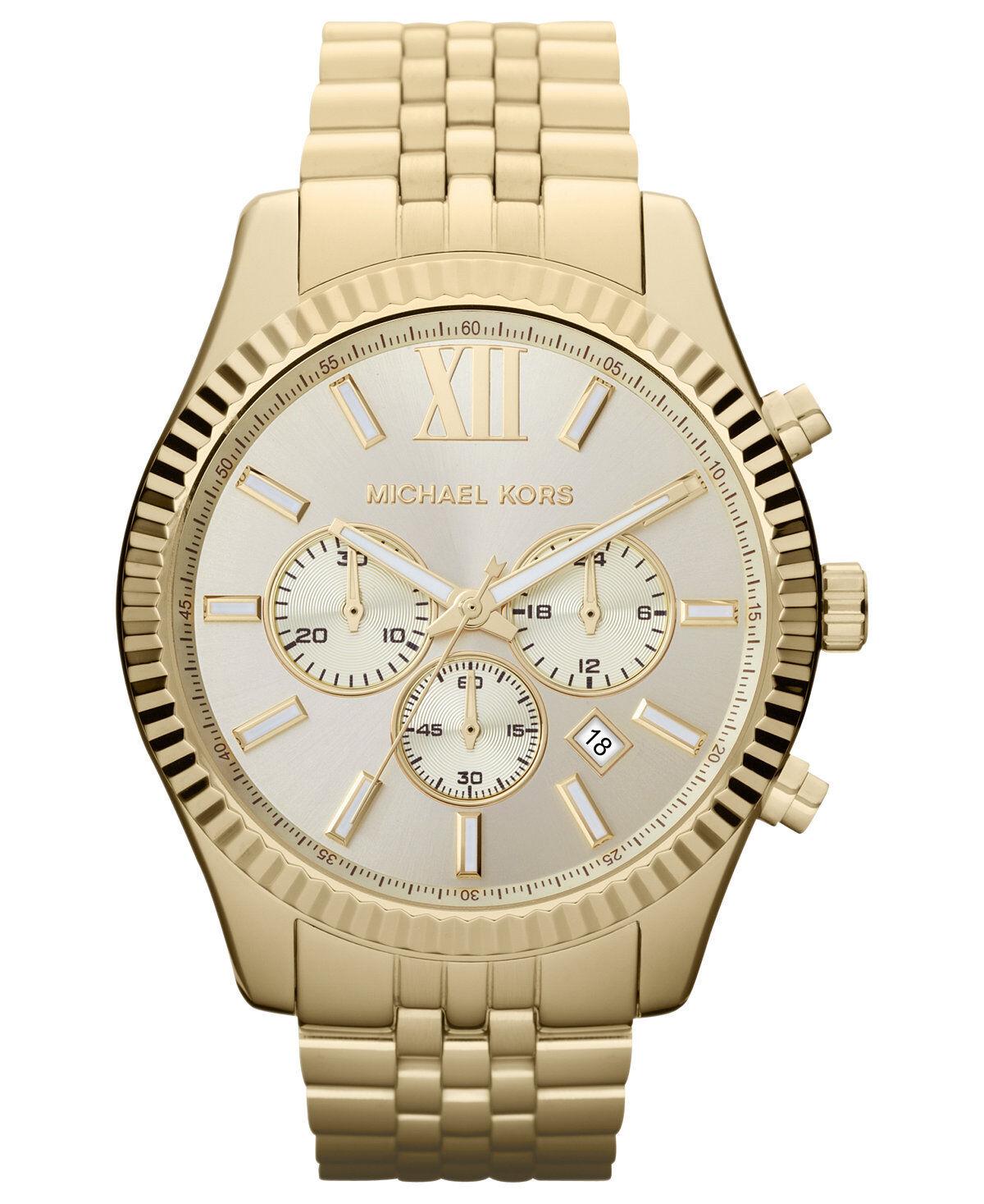 Купить Michael Kors MK8281 - New Michael Kors MK8281 Lexington Gold Stainless Steel Chronograph Men's Watch