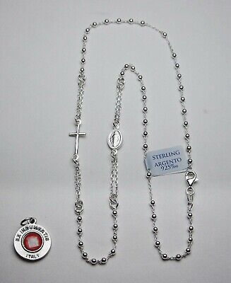 Sterling Silver Rosary Necklace - Made in Italy - Bonus St Anthony Relic Medal