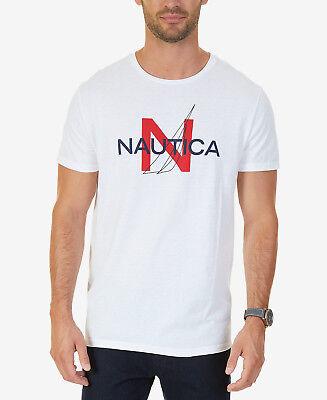MENS NAUTICA HERITAGE GRAPHIC PRINT BLUE T SHIRT SIZE L