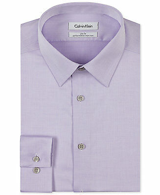 $98 CALVIN KLEIN Men SLIM-FIT PURPLE NON-IRON LONG-SLEEVE DRESS SHIRT 16.5 34/35