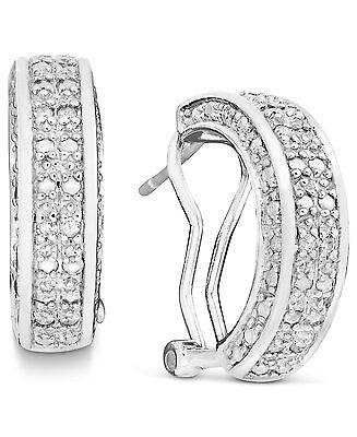 1/2 CT GENUINE DIAMOND  925 STERLING SILVER Women's HOOP EARRINGS  BIG SALE - 1/2 Ct Diamond Hoop Earrings