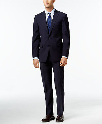 $895 CALVIN KLEIN Mens Extra Slim X Fit Wool Suit Blue 2 PIECE JACKET PANTS 40R