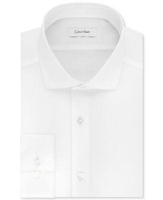 $175 CALVIN KLEIN Men SLIM-FIT STRETCH WHITE LONG-SLEEVE DRESS SHIRT 15.5 34/35