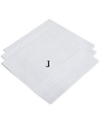 $95 BLOOMINGDALES Mens DRESS HANDKERCHIEF Monogram J PRINT WHITE  POCKET SQUARE