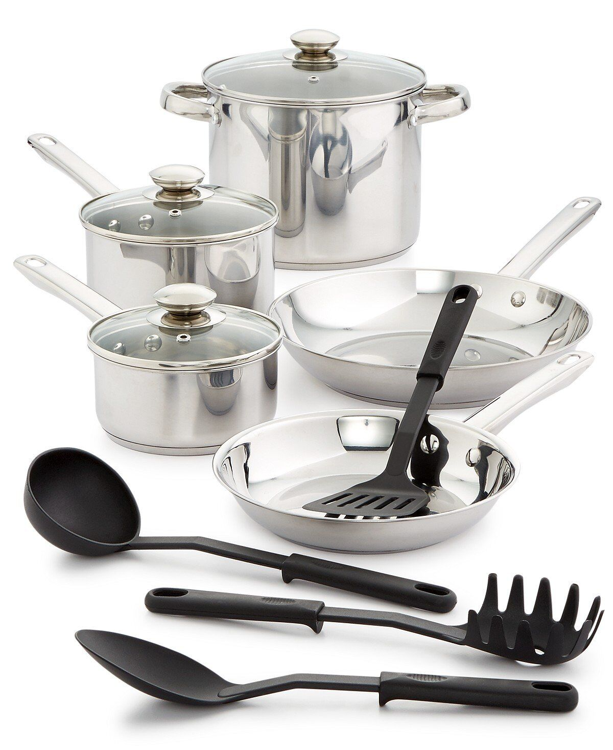 Bella 12 Pc Stainless Steel Cookware Set Oven Safe Pans Lids