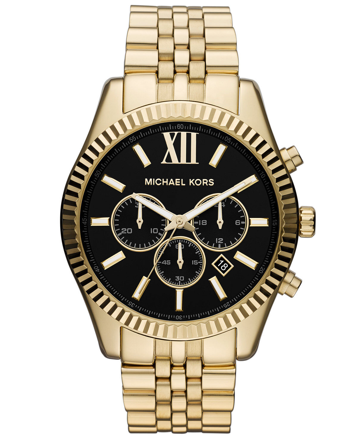 Купить Michael Kors Michael Kors Lexington - Michael Kors Original MK8286 Men's Stainless Steel Gold-Tone Black Chrono Watch